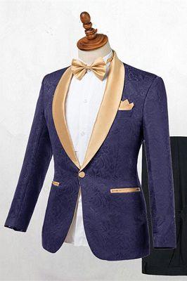 Colton Dark Blue Jacquard Shawl Lapel Wedding Suits_1