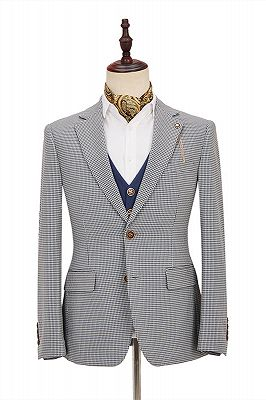 Fashion Black-and-White Plaid Slim Fit 3 Piece Men's Suit with Denim Blue Waistcoat_3