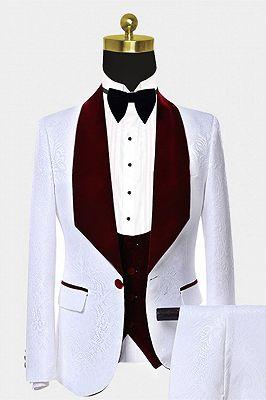 Burgundy Velvet Lapel Prom Suits | White Jacquard Chic Wedding Tuxedos_1