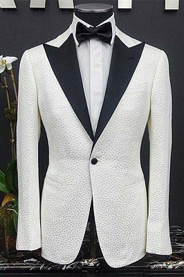 Peyton White Peaked Lapel One Button Slim Fit Wedding Groom Suits_1