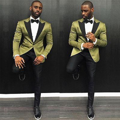 Stylish One Button Slim Fit Prom Men Suit with Black Lapel_2