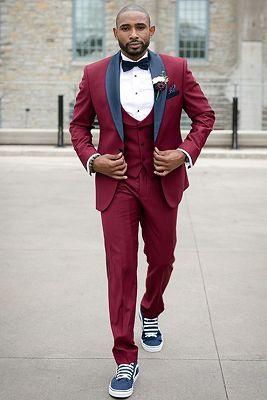 Elias Burgundy Slim Fit Men Suit with Black Shawl Lapel_1