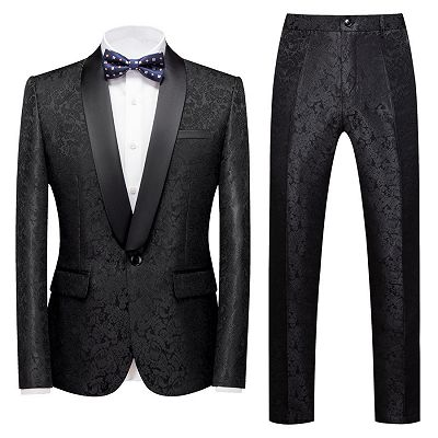 Colin Black Jacquard Classic Shawl Lapel Wedding Men Suits_2