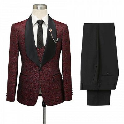 Cesar Burgundy One Button Shawl Lapel Jacquard Wedding Groom Suits_5