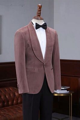Oliver Fashion Pink Velvet Shawl Laple Men Suits for Wedding_2