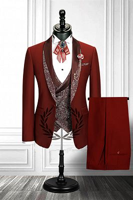 Red 3 Piece Stitching Lapel Stylish Double Breasted Waistcoat Men's Formal Suit_2