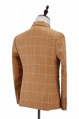 Peak Lapel Flap Pockets Double Breasted Plaid Orange Men's Business Suit for Formal_3