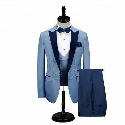 Dark Navy Peak Lapel Men's Prom Suits | Stylish Blue Wedding Tuxedos_2