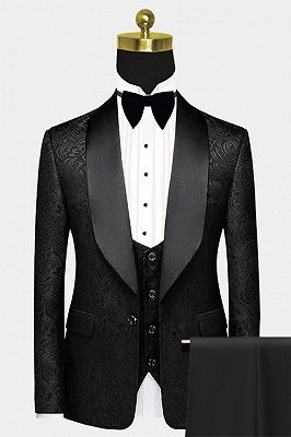 Black Satin Shawl Lapel Prom Suits | One Button Popular Jacquard Wedding Tuxedos_1