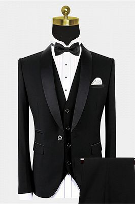 Traditional Black Suits for Groom | Black Satin Shawl Lapel Wedding Tuxedo for Groomsmen - Vincent_1