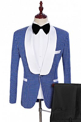 Timothy Blue One Button Tailored Shawl Lapel Wedding Tuxedo for Men_1