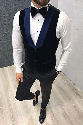 3 Piece Black-and-blue Peak Lapel Wedding Suits Tuxedos with Waistcoat_3