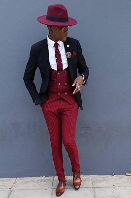 Conner Stylish Three Pieces Best Fitted Striped Prom Men Suits_1
