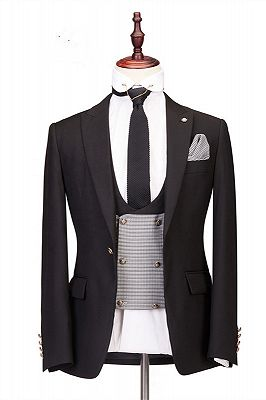 Collin Peaked Lapel Three-Piece Best Fitted Custom Made Men Suits for Wedding_1