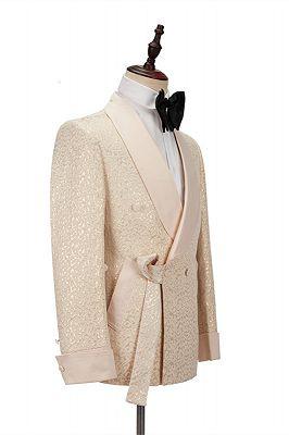Seth Champagne Shawl Lapel Slim Jacquard Wedding Men Suits_2