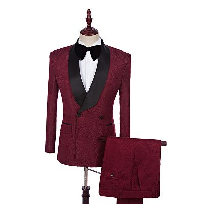 Richard Burgundy Jacquard Double Breasted Best Fitted Wedding Suits Online_2