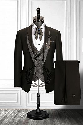 Stitching Shawl Lapel Black 3 Piece Men's Suit with Double Breasted Waistcoat_2