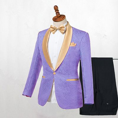 Lavender One Button Jacquard Fashion Slim Fit Wedding Tuxedo for Men_2