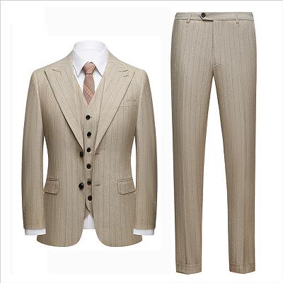Gentle Khaki Striped Peak Lapel Formal Men's Suit for Business_4