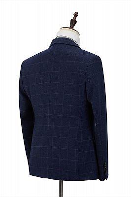 Classic Blue Plaid Peak Lapel 3 Piece Men's Suit with Double Breasted Waistcoat_2