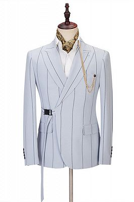 Damian Handsome Striped Peaked Lapel Men Suits Online_1