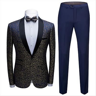 Modern Black Satin Shawl Lapel Wedding Tuxedos | Gold Jacquard Blue Men's Suits for Prom_3