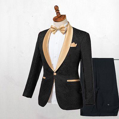Josiah Handsome Black One Button Wedding Men Suits with Gold Lapel_2
