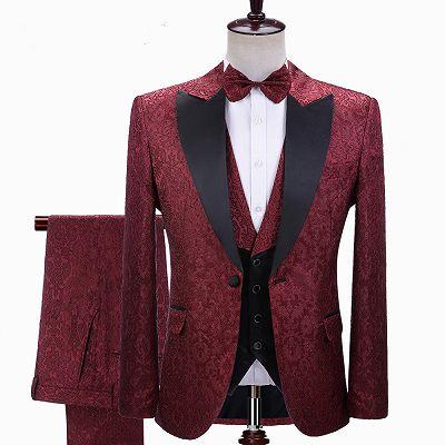 Parker Burgundy Jacquard Peaked Lapel Three-Pieces Wedding Men Suits_2