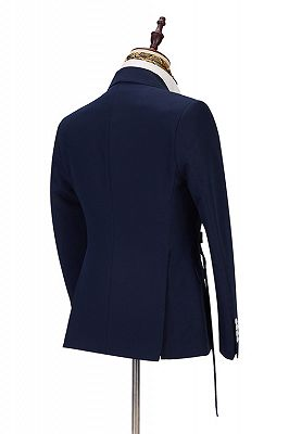 Maxwell Custom Made Navy Blue Peaked Lapel Cheap Men Suits Online_2