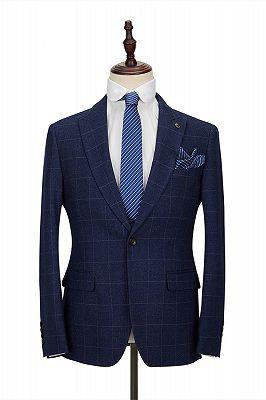 Classic Blue Plaid Peak Lapel 3 Piece Men's Suit with Double Breasted Waistcoat_3