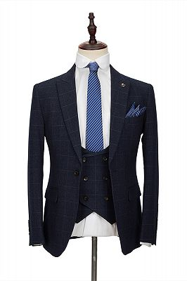 Formal Dark Navy Plaid Peak Lapel Tailor Made 3 Piece Men's Suit with Double Breasted Waistcoat