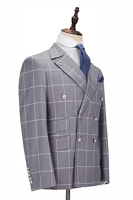 Silver Gray Plaid Peak Lapel Double Breasted Men's Formal Suit for Business_3