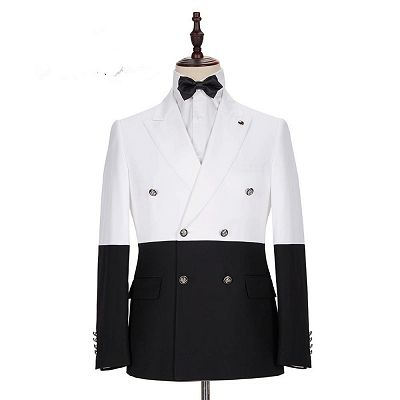Jorge Simple White and Black Double Breasted Custom Made Men Suits Online_5