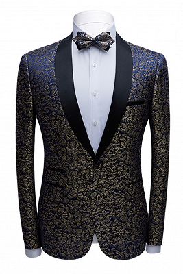 Modern Black Satin Shawl Lapel Wedding Tuxedos | Gold Jacquard Blue Men's Suits for Prom_1