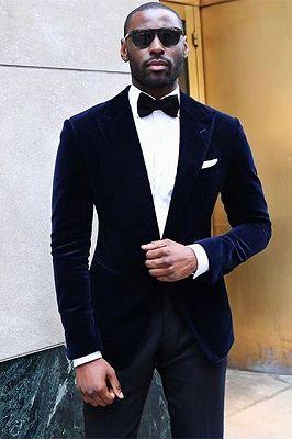 Tanner Velvet Peaked Lapel Best Slim Prom Men Suits_1
