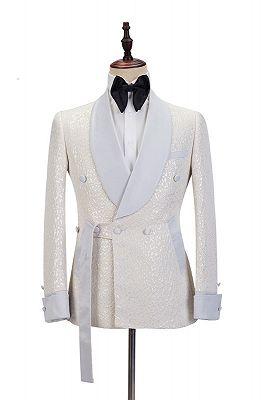 Patrick Off White Shawl Lapel Slim Fit Jacquard Bespoke Wedding Suits_1