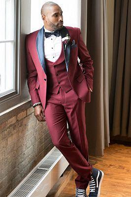 Elias Burgundy Slim Fit Men Suit with Black Shawl Lapel_2