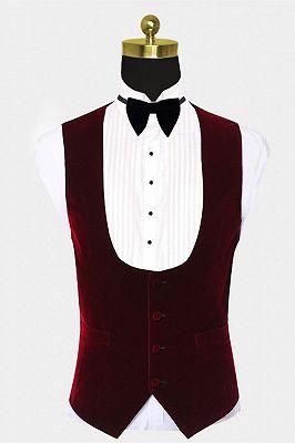 Burgundy Velvet Lapel Prom Suits | White Jacquard Chic Wedding Tuxedos_2