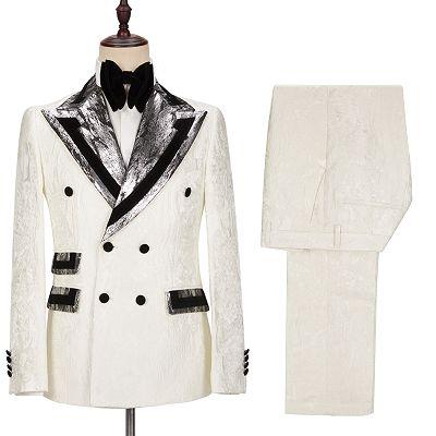 Unique White Jacquard Sparkle Silver Gray Lapel Flaps Black Banding Edge Men's Wedding Suits Tuxedos_4