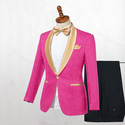 Miguel Hot Pink One Button Fashion Slim Fit Wedding Suits_2