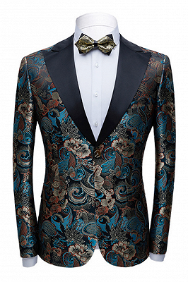 Multicolors Peak Lapel with Black Satin Wedding Tuxedos | Vintage Jacquard Men's Prom Suits_1