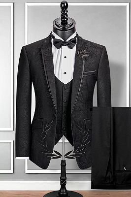 Classic Notch Lapel Black Groom Suit | Slim Fit Jacquard Wedding Tuxedos Cheap_1