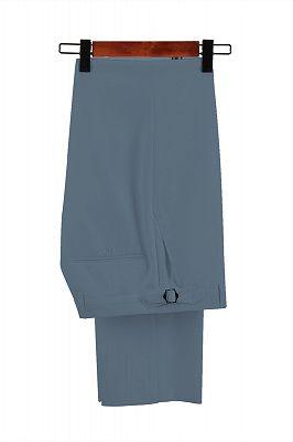 Stylish Morandi Dust Green Peak Lapel Adjustable Buckle Men's Casual Suit for Summer_2