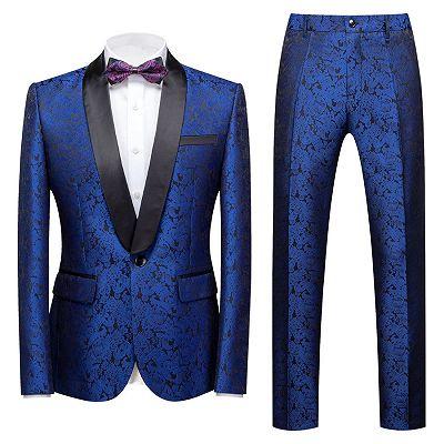 Kaleb Royal Blue Slim Fit One Button Jacquard Wedding Men Suits_2