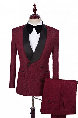 Richard Burgundy Jacquard Double Breasted Best Fitted Wedding Suits Online_1