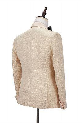Seth Champagne Shawl Lapel Slim Jacquard Wedding Men Suits_3