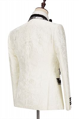 Unique White Jacquard Sparkle Silver Gray Lapel Flaps Black Banding Edge Men's Wedding Suits Tuxedos_2