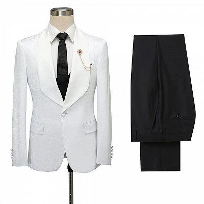 Miles White Jacquard Slim Fit Shawl Lapel Wedding Suits_5