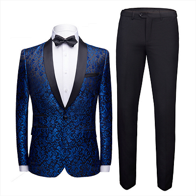 Popular Royal Blue Jacquard Prom Suits Cheap | Shawl Lapel Black Satin Wedding Tuxedos-Theo_2