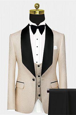 Stylish Light Champagne Prom Suit   Black Large Lapel Jacquard Wedding Tuxedos - Wayn_1